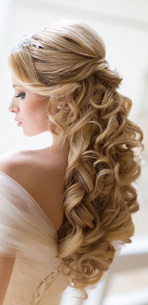 18 Best Bridal Tiaras Hairstyle Images On Pinterest | Bridal For Wedding Hairstyles For Long Hair And Bangs (View 3 of 15)