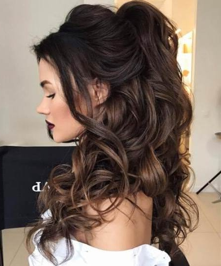 20 Best Half Up And Half Down Wedding Hairstyles Inside Wedding Hairstyles With Ponytail (View 9 of 15)