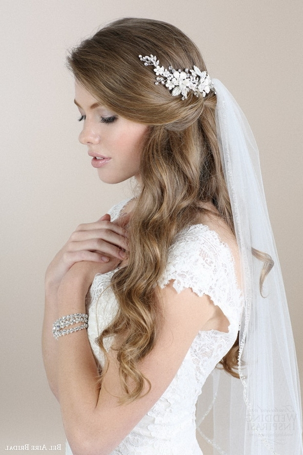 20 Elegant Wedding Hairstyles With Exquisite Headpieces | Tulle Inside Wedding Hairstyles With Headpiece (View 5 of 15)