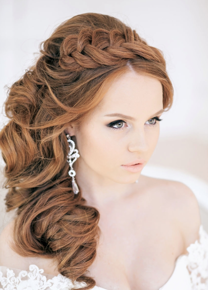 2014 Diy Crown Braid Side Swept Hairstyles For Long Curly Hair Pertaining To Wedding Hairstyles On The Side With Curls (View 13 of 15)