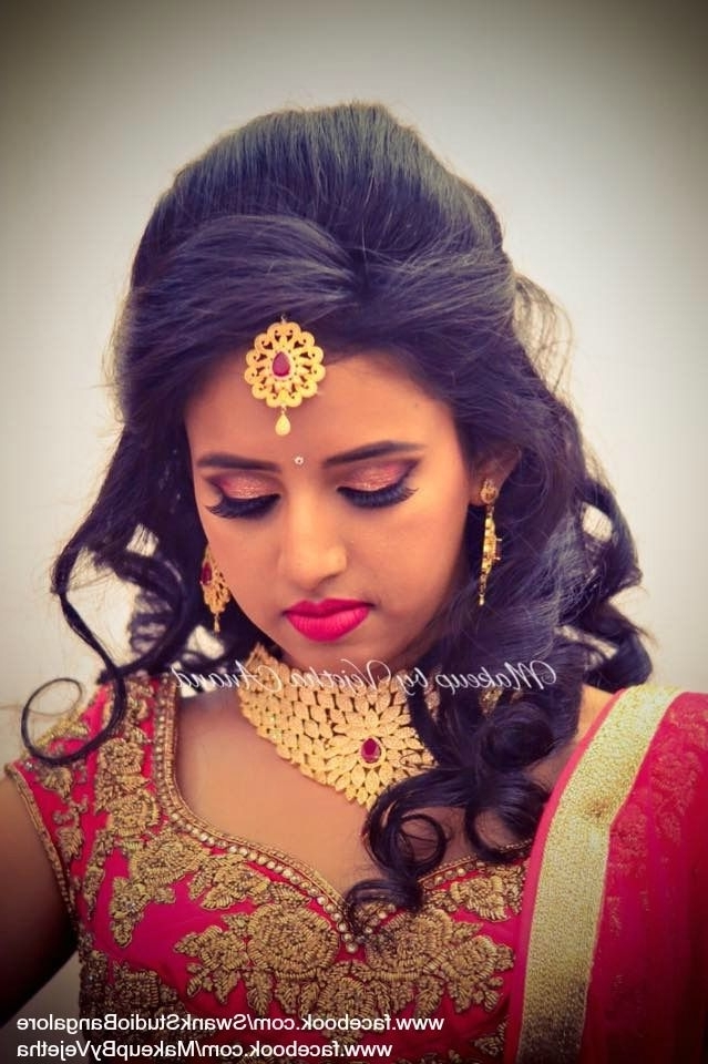 22 Best Reception Images On Pinterest | Hindus, Bridal Hairstyle And Within Wedding Reception Hairstyles For Indian Bride (View 2 of 15)
