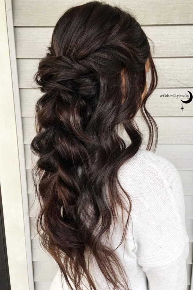 24 Chic Half Up Half Down Bridesmaid Hairstyles | Hair & Beauty That Pertaining To Wedding Hairstyles For Long Dark Hair (View 2 of 15)