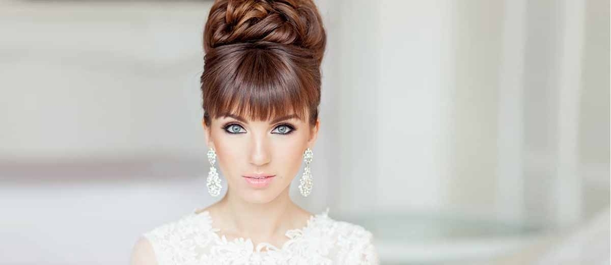 24 Chic Wedding Hairstyles With Bangs | Wedding Forward Within Wedding Hairstyles For Long Hair With Bangs (View 2 of 15)