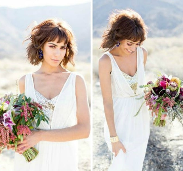 25 Wedding Hairstyles For Short Hair | Brit + Co For Wedding Hairstyles For Short Hair With Fringe (View 2 of 15)
