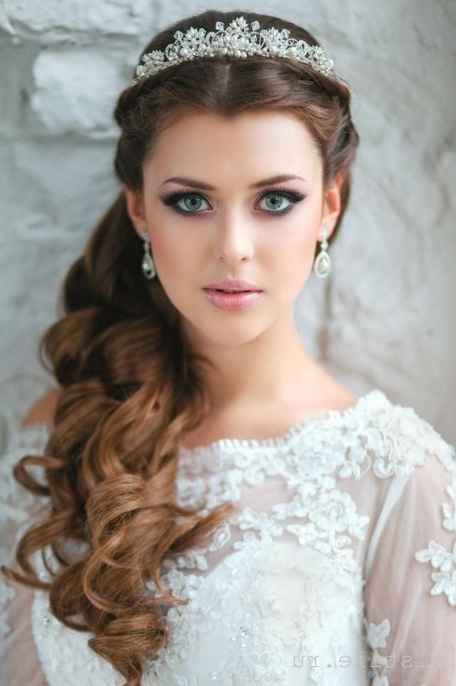 26 Stylish Wedding Hairstyles For A Dreamy Bridal Look | Pinterest Intended For Wedding Hairstyles For Long Hair Down With Tiara (View 2 of 15)