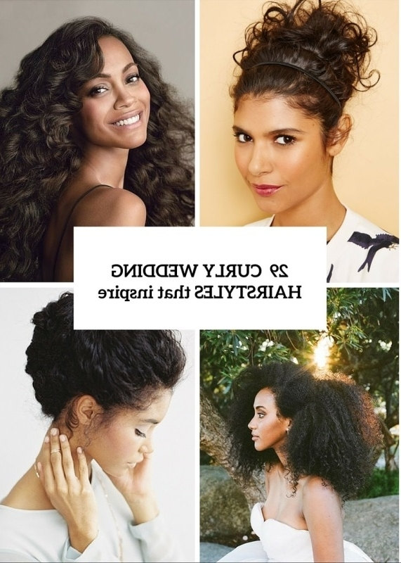 29 Charming Bride's Wedding Hairstyles For Naturally Curly Hair Within Wedding Hairstyles For Short Natural Curly Hair (View 15 of 15)