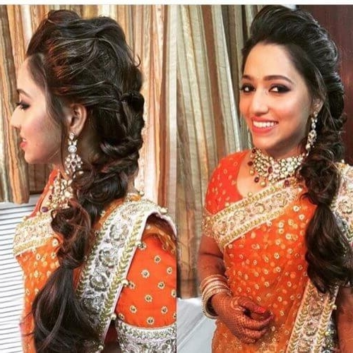 30 Best Indian Bridal Hairstyles For Women With Long Hair Inside Wedding Reception Hairstyles For Saree (View 4 of 15)