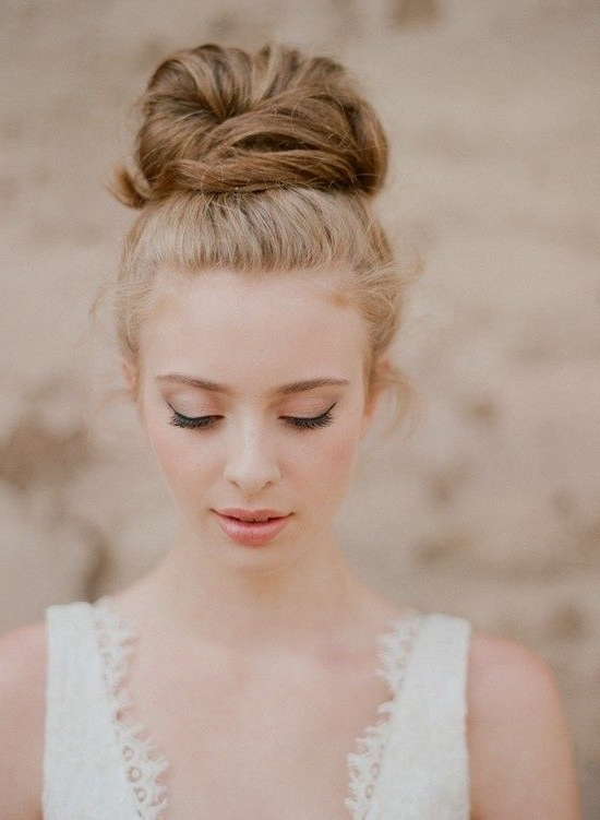 30 Top Knot Bun Wedding Hairstyles That Will Inspire(With Tutorial Within Wedding Bun Hairstyles (View 3 of 15)
