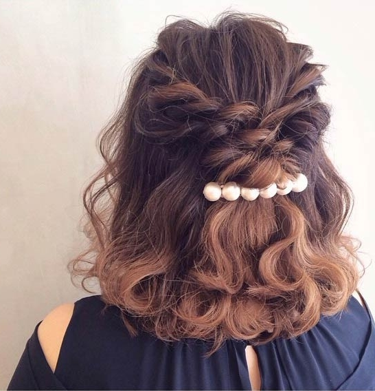 31 Half Up, Half Down Hairstyles For Bridesmaids | Stayglam Pertaining To Half Up Half Down Wedding Hairstyles For Medium Length Hair With Fringe (View 5 of 15)