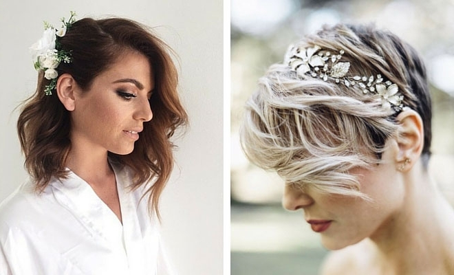31 Wedding Hairstyles For Short To Mid Length Hair | Stayglam Regarding Wedding Hairstyles For Medium Length Hair With Flowers (View 14 of 15)