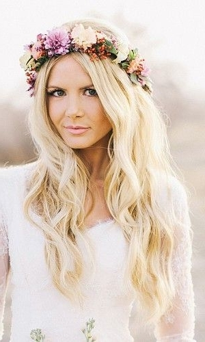 33 Favourite Wedding Hairstyles For Long Hair | Pinterest | Floral Pertaining To Wedding Hairstyles For Long Hair With Crown (View 10 of 15)