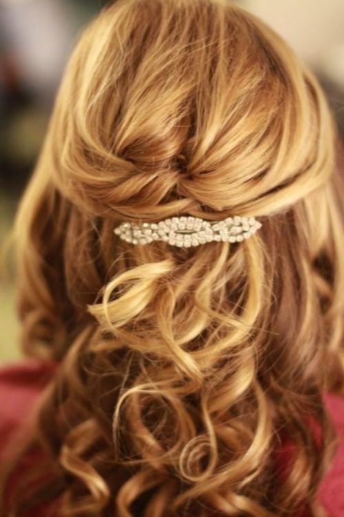 37 Half Up Half Down Wedding Hairstyles Anyone Would Love | Chignons Regarding Half Up Half Down Wedding Hairstyles For Medium Length Hair (View 8 of 15)