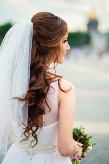 37 Half Up Half Down Wedding Hairstyles Anyone Would Love Intended For Half Up Half Down With Veil Wedding Hairstyles (View 4 of 15)