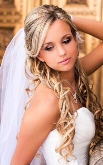 37 Half Up Half Down Wedding Hairstyles Anyone Would Love Throughout Wedding Hairstyles For Long Hair Down With Veil (View 2 of 15)