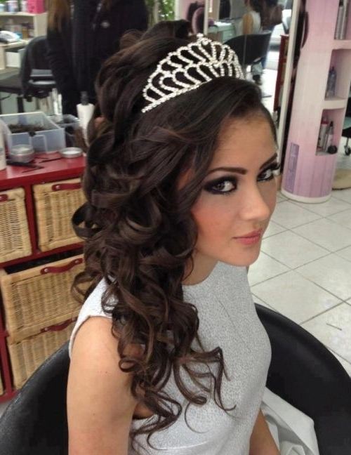 37 Half Up Half Down Wedding Hairstyles Anyone Would Love Within Wedding Hairstyles For Long Hair With Tiara (View 4 of 15)