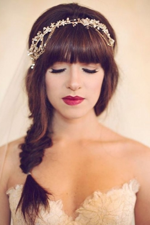 39 Chic And Pretty Wedding Hairstyles With Bangs – Weddingomania Inside Wedding Hairstyles For Long Hair With Bangs (View 11 of 15)