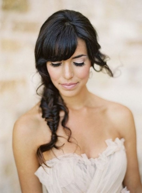 39 Chic And Pretty Wedding Hairstyles With Bangs – Weddingomania Throughout Wedding Hairstyles For Long Hair With Bangs (View 6 of 15)