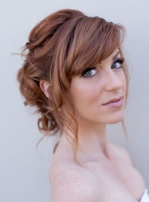 39 Chic And Pretty Wedding Hairstyles With Bangs | Weddingomania With Wedding Hairstyles With Fringe (View 2 of 15)