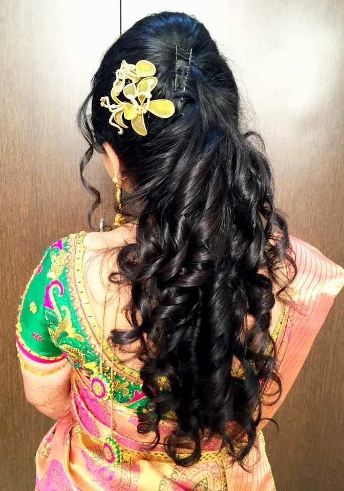 4 New Pics Of Wedding Reception Hairstyles For Saree | Wedding Ideas Throughout Wedding Reception Hairstyles For Long Hair (View 1 of 15)