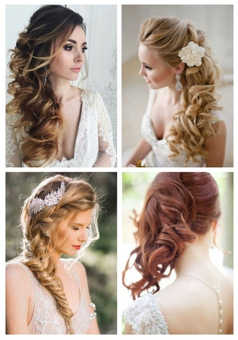40 Gorgeous Side Swept Wedding Hairstyles | Happywedd Inside Wedding Hairstyles For Long Hair With Side Swept (View 2 of 15)
