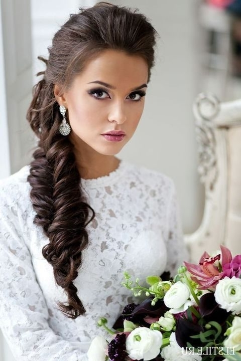 40 Gorgeous Side Swept Wedding Hairstyles | Happywedd Throughout Wedding Hairstyles For Long Hair With Side Swept (View 3 of 15)
