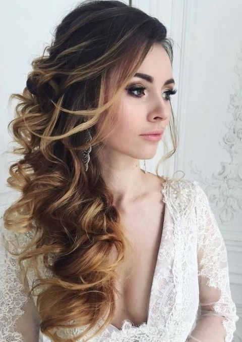40 Gorgeous Side Swept Wedding Hairstyles | Happywedd Within Wedding Side Hairstyles (View 6 of 15)
