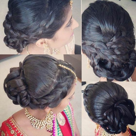 40 Indian Bridal Hairstyles Perfect For Your Wedding Intended For Plaits Bun Wedding Hairstyles (View 3 of 15)