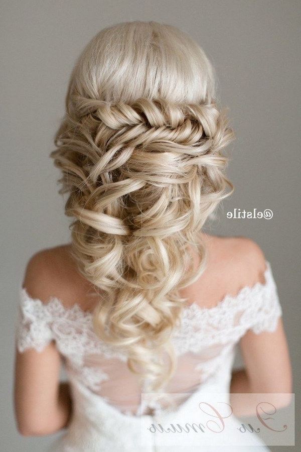 40 Stunning Half Up Half Down Wedding Hairstyles With Tutorial Inside Half Up Half Down With Braid Wedding Hairstyles (View 14 of 15)