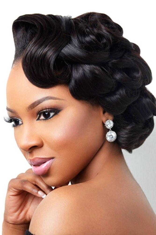 42 Black Women Wedding Hairstyles | Pinterest | Black Wedding Intended For Wedding Hairstyles For Medium Length With Black Hair (View 2 of 15)