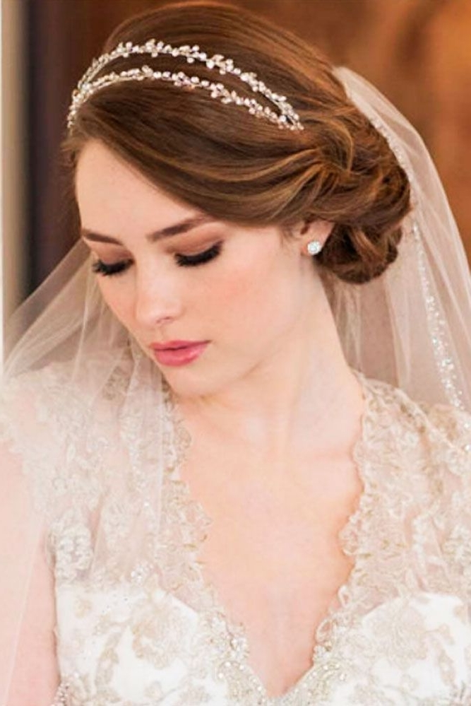 42 Wedding Hairstyles With Veil | Veil, Veil Hairstyles And Wedding Throughout Wedding Hairstyles With Headband And Veil (View 3 of 15)