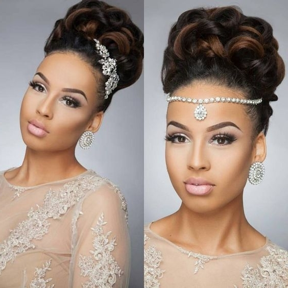 43 Black Wedding Hairstyles For Black Women | Pinterest | Updo Throughout Wedding Hairstyles With Braids For Black Bridesmaids (View 2 of 15)