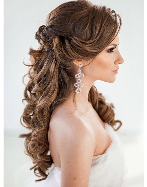 45 Best Wedding Hairstyles For Long Hair 2018 | Pinterest In Curly Hair Half Up Wedding Hairstyles (View 4 of 15)