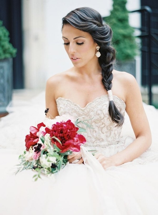 50 Best Wedding Hairstyle Ideas For Wedding 2018   Deer Pearl Flowers In Wedding Hairstyles For Long Hair And Strapless Dress (View 10 of 15)