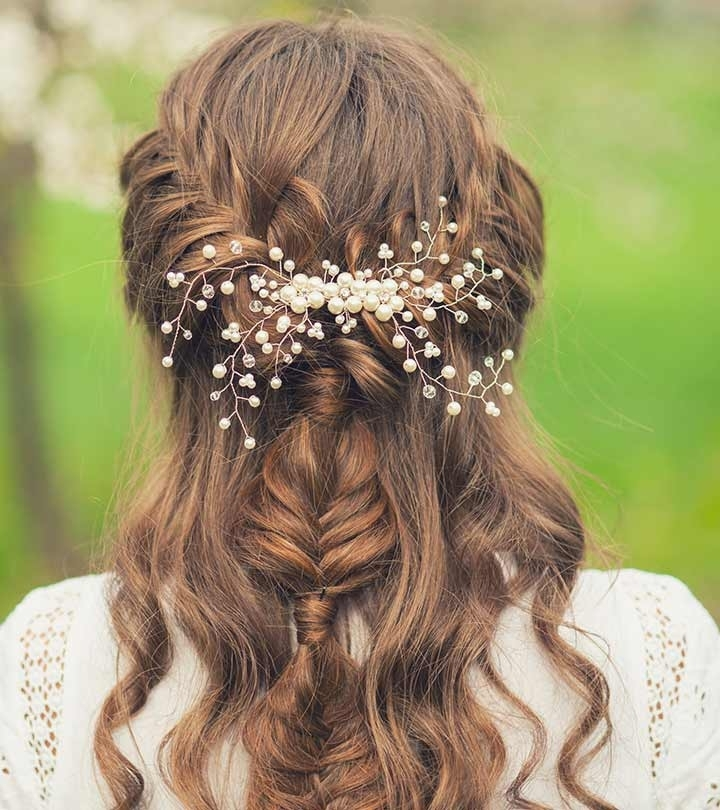 50 Simple Bridal Hairstyles For Curly Hair Throughout Wedding Hairstyles For Long Brown Hair (View 11 of 15)