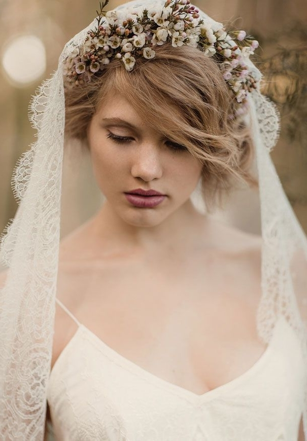 513 Best Bridal Veils Images On Pinterest | Wedding Veils, Bridal For Wedding Hairstyles With Veil And Flower (View 9 of 15)