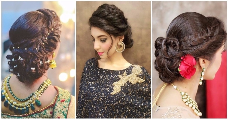 Displaying Photos Of Braided Hairstyles For Long Hair Indian Wedding