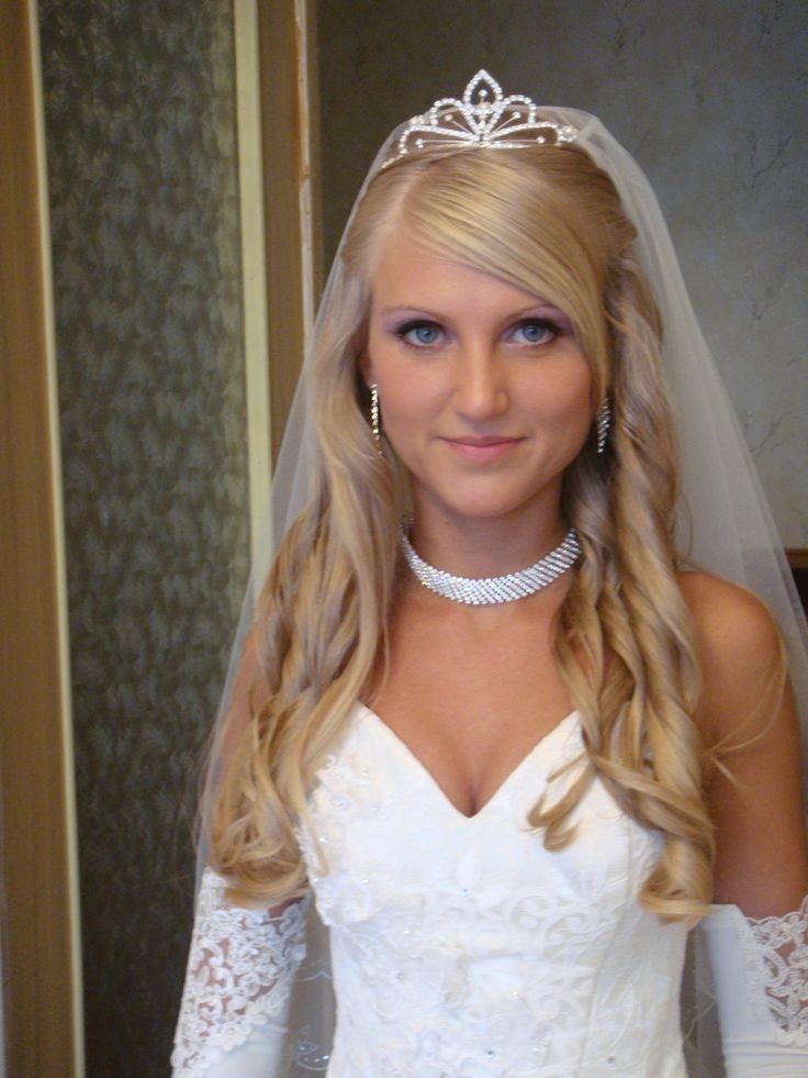 66 Best Wedding Hairstyles Images On Pinterest | Wedding Hair Styles Within Wedding Hairstyles For Long Hair With Veil And Tiara (View 15 of 15)