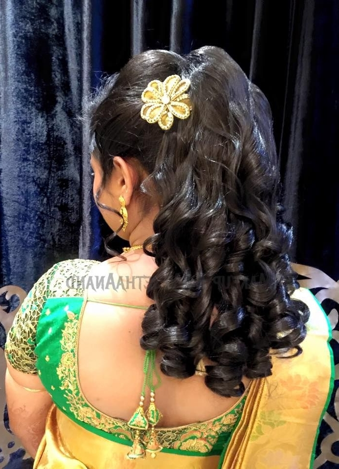 75 Best Indian Wedding Hair Do Images On Pinterest | Braid With Wedding Reception Hairstyles For Saree (View 5 of 15)