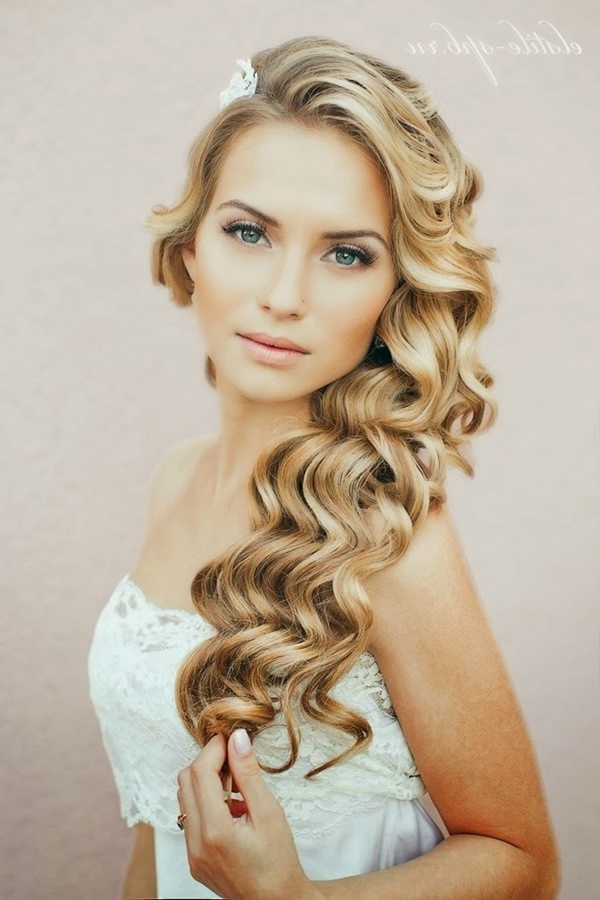 99 Stunning Wedding Hairstyles That Will Make You Weep On Your Big Pertaining To Curls To The Side Wedding Hairstyles (View 3 of 15)