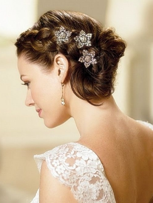 A Typical European Bridal Style, Tied Up Hair With A White Veil Intended For Tied Up Wedding Hairstyles (View 3 of 15)