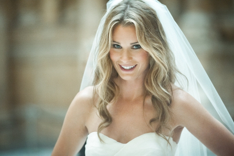 All Down Loose Waves Wedding Hairstyle Classic Veil Full | Medium Inside Wedding Hairstyles For Long Curly Hair With Veil (View 12 of 15)