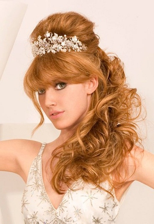 Beautiful Wedding Hairstyles For Medium Length Hair With Bangs With Wedding Hairstyles For Shoulder Length Hair With Tiara (View 2 of 15)