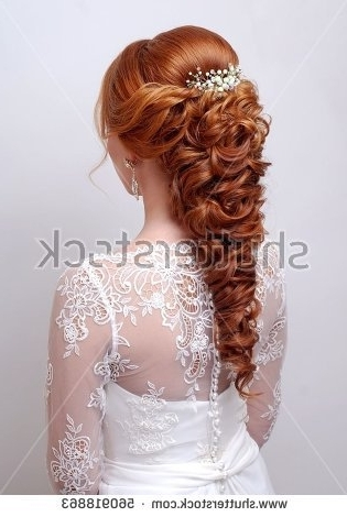 Beautiful Work Hairdresser Wedding Evening Hairstyle Stock Photo Inside Wedding Hairstyles For Long Red Hair (View 3 of 15)