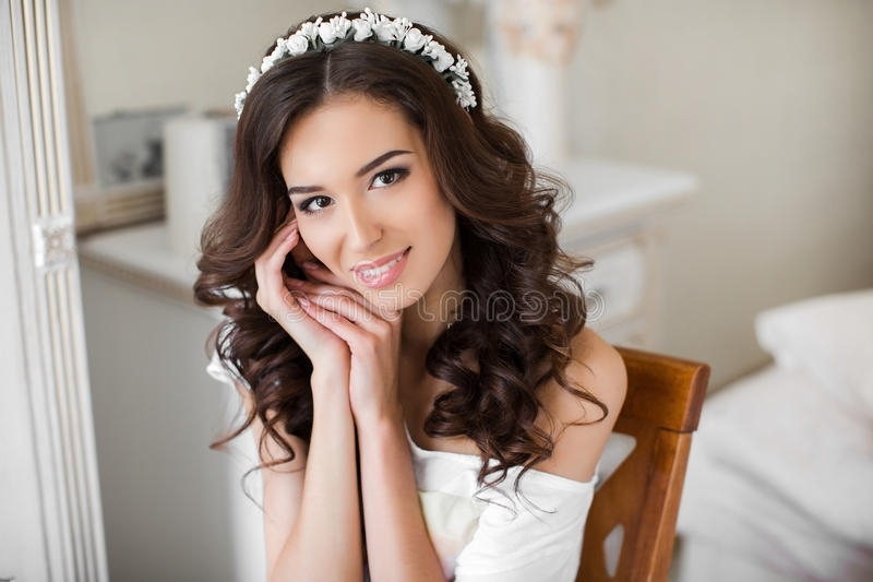 Beautiful Young Bride Wedding Makeup And Hairstyle Stock Photo Pertaining To Wedding Hairstyles For Young Brides (View 15 of 15)