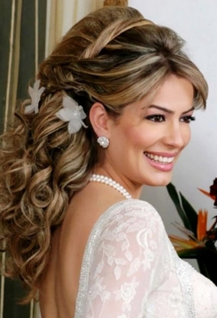 Big Curly Wedding Hairstyle With Full Curls And Straight Side Bangs With Big Curls Wedding Hairstyles (View 13 of 15)
