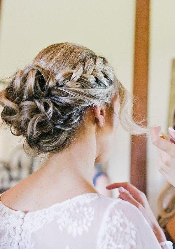Braided Bun Wedding Hairstyle For Long Hair | Deer Pearl Flowers For Wedding Updos For Long Hair With Braids (View 8 of 15)