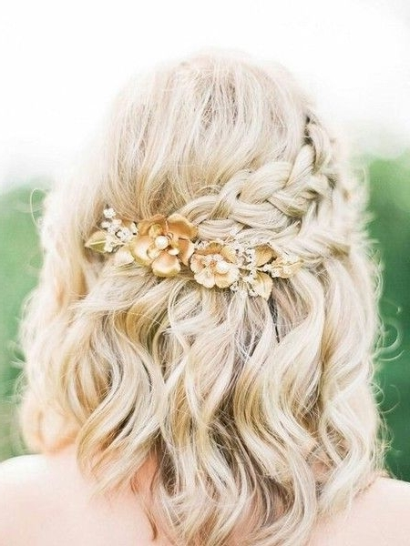 Braided Gold Flowers | Flower Shorts, Bridal Hairstyle And Plait Intended For Wedding Hairstyles For Medium Length Hair With Flowers (View 4 of 15)