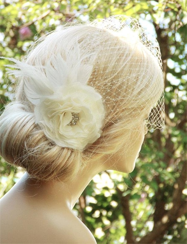 Bridal Birdcage Veil Wedding Hairstyles Bridal Hair Wedding In Updos Wedding Hairstyles With Fascinators (View 4 of 15)