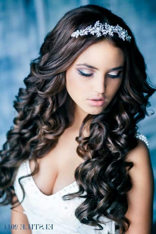 Bridal Hair Style: Long Curls And A Tiara (View 10 of 15)