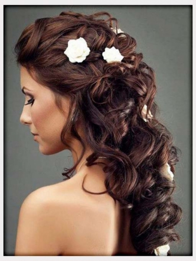 Bridal Hairstyle Long Hair Down Wedding Hairstyle On Pinterest Pertaining To Wedding Hairstyles For Long Hair Down With Flowers (View 11 of 15)
